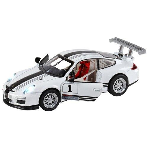 Купить Машинка детская, металлическая, инерционная, Автопанорама, коллекционная, 1:32 Porsche 911 GT3 Cup, белый, свет, звук, открывающиеся двери, Машинки и техника