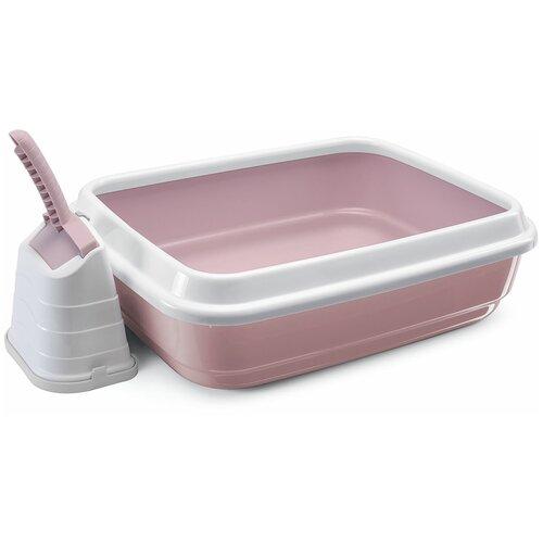 Туалет-лоток для кошек Imac Duo 48х40х15 см пепельно-розовый 1 шт.