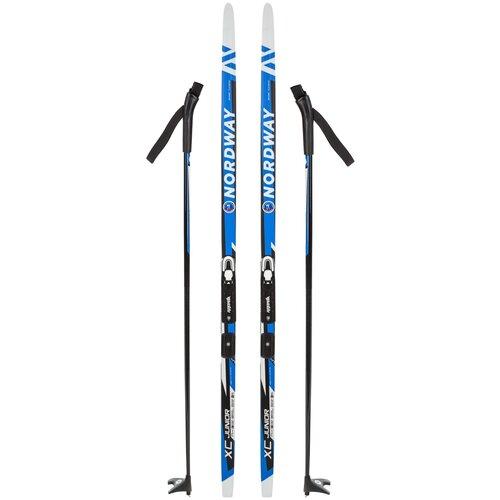Беговые лыжи NORDWAY XС с палками, с креплениями белый/синий 2020-2021 130 см