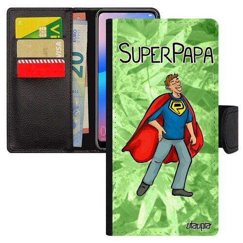 Чехол книжка для смарфона Huawei P20 Pro французский дизайн Суперпапа Смешной Супергерой