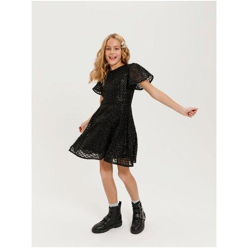 Платье Sela размер 146 (11-12лет), черный брюки sela размер 146 коричневый