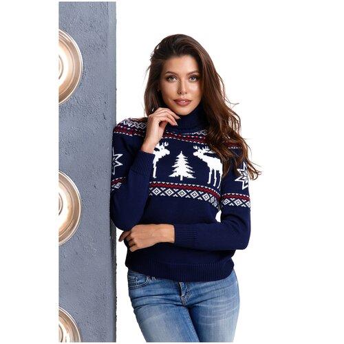 Женский свитер, классический скандинавский орнамент с Оленями и снежинками, натуральная шерсть, темно-синий цвет, бело-красный орнамент, размер M