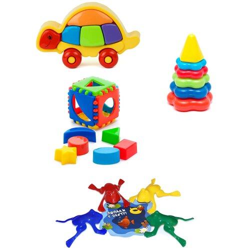 Купить Набор развивающий: Логическая черепашка + Кубик логический малый + Пирамида детская малая + Команда КВА №1 KAROLINA TOYS, Развивающие игрушки