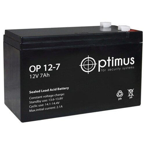 Аккумулятор AGM герметичный тяговый слаботочный Optimus OP 1207 151х65х94 мм 12 V Вольт / 7 Ah Ач