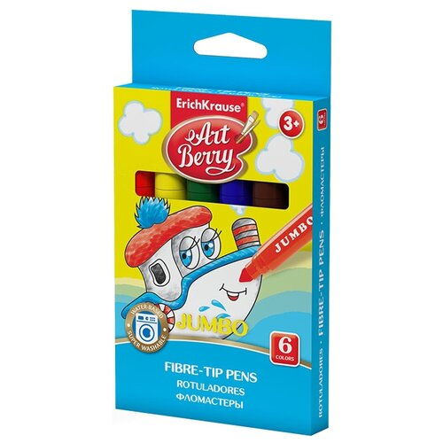 Купить ArtBerry Набор фломастеров Jumbo Super Washable, 6 шт. (33041), Фломастеры и маркеры