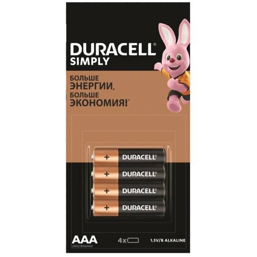 Фото - Батарейка Duracell Simply AAA, 4 шт. батарейки duracell activeair nugget box za675 da675 6bl