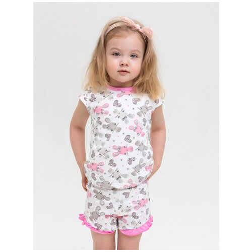 Купить 2800894 Пижама: Футболка, шорты Зайчата , КотМарКот, размер 116, состав:100% хлопок, цвет Белый, KotMarKot, Домашняя одежда