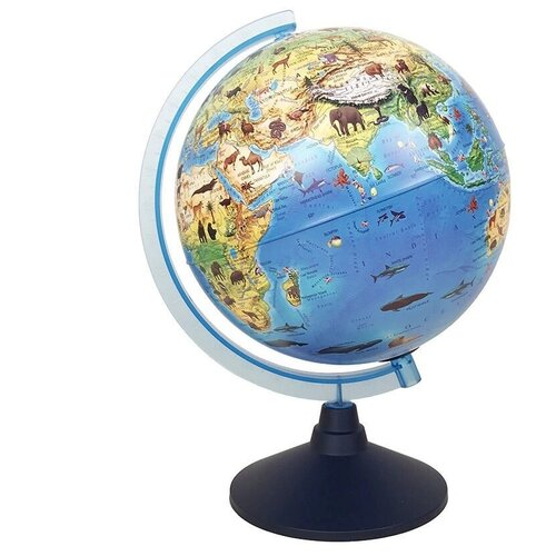 Купить Globen / Глобус Зоогеографический на английском языке с подсветкой от батареек, 25 см , Глобусы
