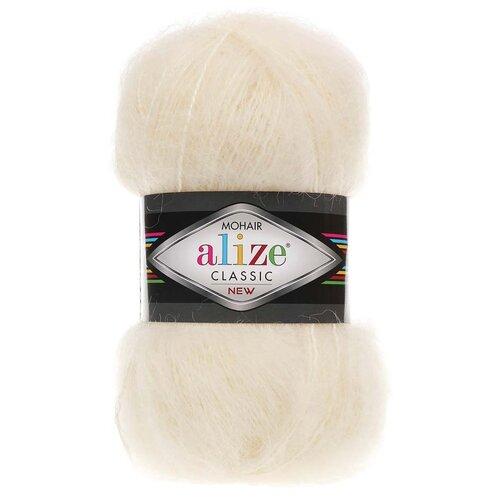 Купить Пряжа для вязания Alize 'Mohair classic new' 100гр. 200м (25%мохер, 24%шерсть, 51%акрил) (01 кремовый), 5 мотков