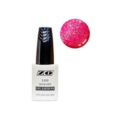 Купить Гель-лак для ногтей ZO GL, 20 мл, 290 малиновый с блестками