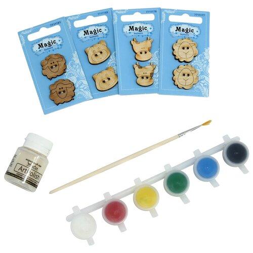 Купить Набор пуговиц для раскрашивания 'Ферма' (2-3см), с красками, Astra&Craft, Astra & Craft, Роспись предметов