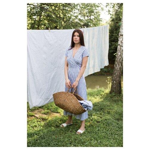 Платье-халат с запахом befree 2021389575 женское Цвет Синий синий принт45 Полоски р-р 44 S
