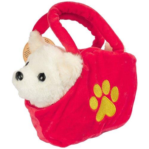 Мягкая игрушка Bondibon Собака в сумочке белая 18 см