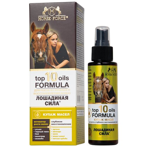 Купить Лошадиная Сила TOP 10 OILS FORMULA Купаж масел для роста и глубокого восстановления волос, 100 мл