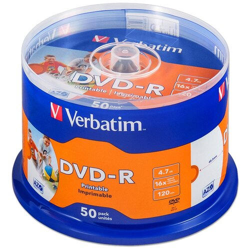 Фото - Диск DVD-R Verbatim 4,7Gb 16x Printable cake 50 диски dvd r verbatim 16x 4 7gb cake box 50шт printable 43755