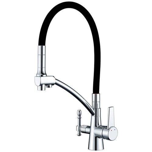 Фото - Смеситель для кухни (мойки) ZorG Sanitary ZR 338 YF хром/черный смеситель для кухни мойки zorg sanitary zr 320 yf 33 однорычажный