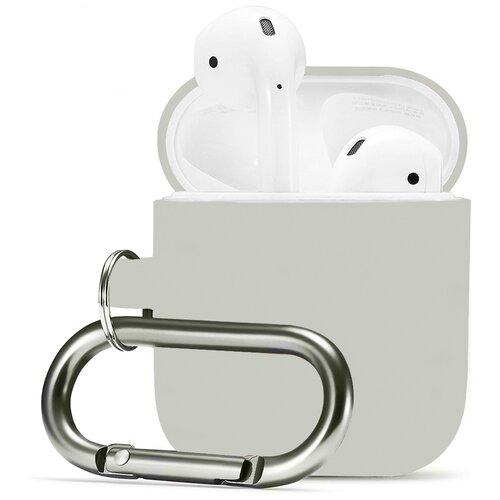 Чехол для наушников Apple AirPods 2 с карабином / Чехол на кейс Эпл ЭирПодс 2 с поддержкой беспроводной зарядки / Силиконовый чехол для беспроводных блютуз наушников (Silver Gray)