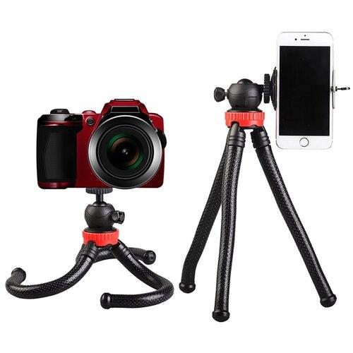Штатив с гибкими ножками для телефона, смартфона, фото и экшн камеры / Штатив для крепления кольцевых ламп и фотовспышек / Держатель для фото и видео съемки, для смартфонов Apple iPhone, Samsung, Huawei, Xiaomi, Экшн камеры GoPro, камеры Canon, NiKon,