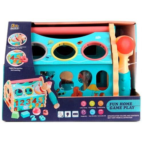 Купить Развивающая игрушка Veld Co Домик с молоточком (103583) голубой/бежевый, Развивающие игрушки
