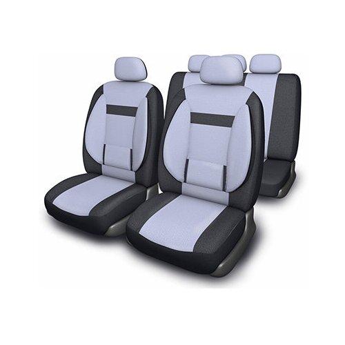 Чехлы автомобильные SKYWAY Protect Plus- 1 велюр/сетка 11 предм. черно/серый