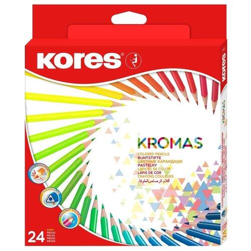 Карандаши цветные 24цв 3-гран Kores Kromas 93392