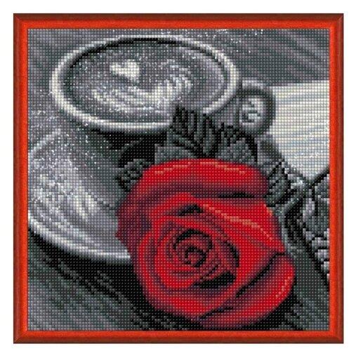 Алмазная живопись Набор алмазной вышивки Роза и кофе (АЖ-1773) 25х25 см алмазная живопись набор алмазной вышивки персидская принцесса аж 1620 25х25 см