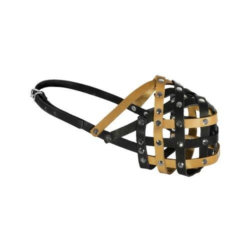 Tappi амуниция намордник кожаный мэд, №2, желто/черный, обхват 24-26см я050102жч, 0,060 кг