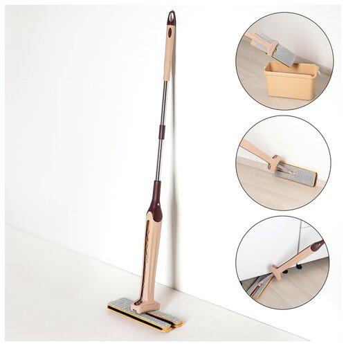 Швабра плоская с вертикальным отжимом 38х12х135 см, стальная ручка, микрофибра 2х-сторонняя 1723625
