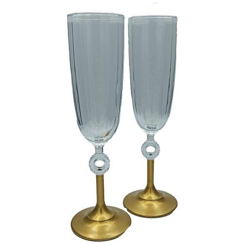 Набор бокалов для шампанского, 2 в 1, цвет прозрачный золотистый, MARMA MM-SET-65