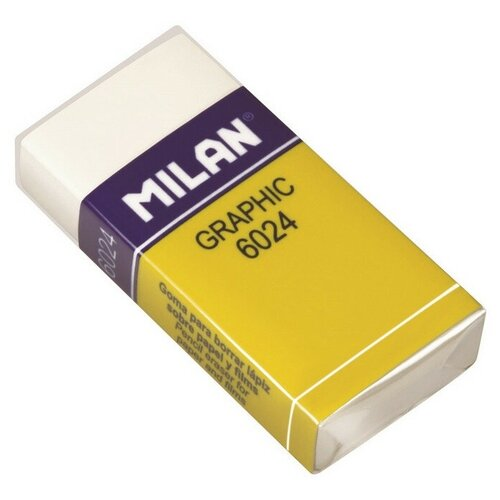 Купить Ластик пластиковый Milan 6024 повышенной мягкости, белый, карт. держатель 3 штук, Ластики