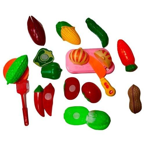 Купить Детский набор продуктов для резки Овощи с кухонными принадлежностями, 15 предметов, TONG DE, Игрушечная еда и посуда