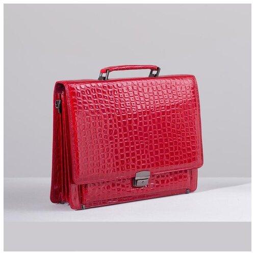 Сумка женская деловая, 2 отдела на клапане, 2 наружных кармана, длинный ремень, цвет ярко-красный