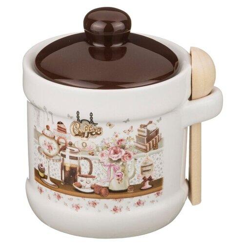 Сахарница Agness Coffee с ложкой 358-906 белый/коричневый недорого