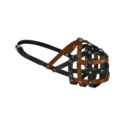 Tappi амуниция намордник кожаный мэд, №4, рыже/черный, обхват 27-30см я050104рч, 0,129 кг