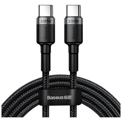 Кабель Baseus Cafule USB Type-C - USB Type-C (CATKLF-ALG1), черный/серый, 2 м кабель type c baseus catklf bg1 cafule cable usb for type c 3a 1м black gray черный серый