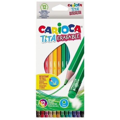 Фото - Carioca набор цветных карандашей Tita Erasable 12 цветов (42897) набор цветных карандашей carioca tita 6 шт 174 мм