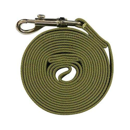 Поводок для собак Гамма Брезентовый зеленый 7 м 25 мм недорого