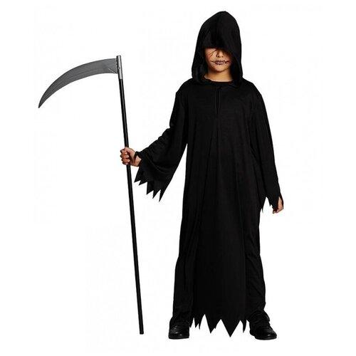 Детский черный балахон с капюшоном (6903), 140 см.