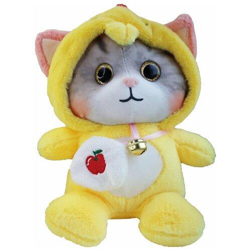 Мягкая игрушка Котенок в пижаме кигуруми Петух / в капюшоне, 25 см