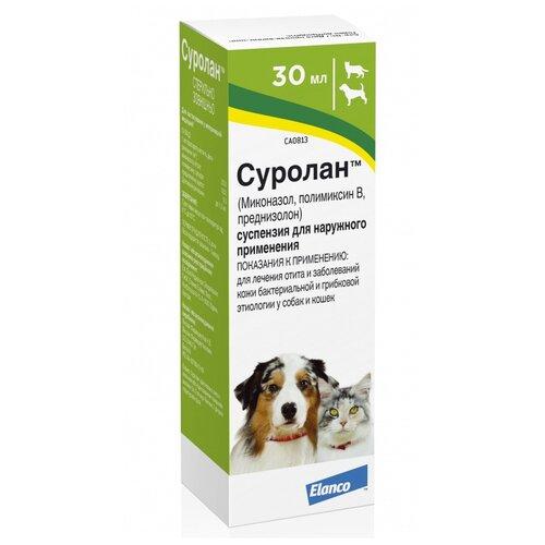 Препарат для кошек и собак Elanco Суролан суспензия для лечения отита 30мл