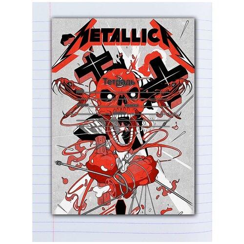 Купить Набор тетрадей 5 штук, 12 листов в линейку с рисунком Metallica Череп оранжевый, Drabs, Тетради