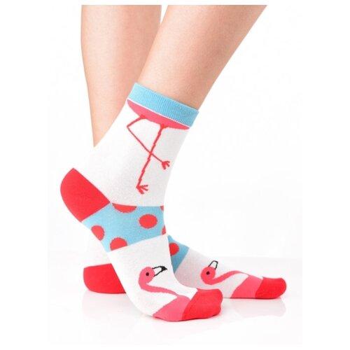 Яркие цветные носки унисекс, прикольные красочные носки/ Модные носки с рисунком/ Носки из натурального хлопка с рисунком Фламинго в горошек, размер 36-39