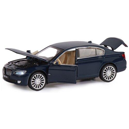 Машинка детская, металлическая, инерционная, Автопанорама, коллекционная, 1:34, BMW 760LI , синий, свет, звук, открываются двери.