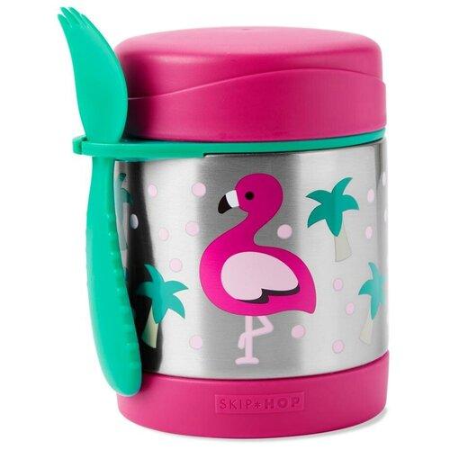 Термос для еды SKIP HOP Zoo Flamingo, 0.325 л серебристый/розовый