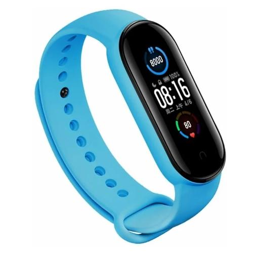 Gurdini Ремешок силиконовый для Xiaomi Mi Band 5 голубой