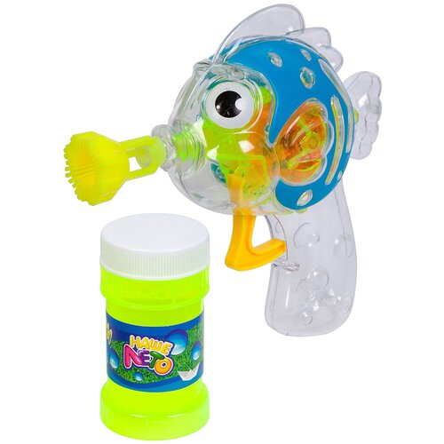 Пистолет-светящаяся рыбка Bondibon с мыльными пузырями Наше Лето ВВ2777 50 мл бесцветный/голубой/зеленый пистолет bondibon наше лето рыбка мыльные пузыри 2х60 мл