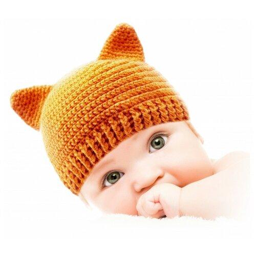 Купить Шапочка для детей и новорожденных от 0 до 3 лет Лисичка (набор для вязания), Викидс, Наборы для вязания