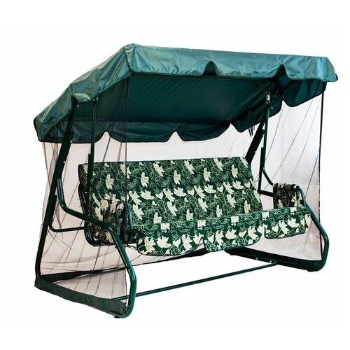Садовые качели 3-местные с москитной сеткой GreenGard Санторини зеленый садовые качели 3 местные с москитной сеткой zalger каролина шоколад
