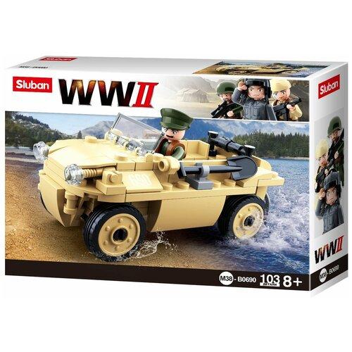 Конструктор SLUBAN WW2 M38-B0690 Грузовик-амфибия конструктор sluban ww2 m38 b0682 газ 67