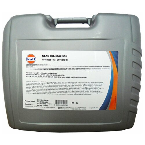 Трансмиссионное масло Gulf TDL 85W-140 20 л по цене 5 459